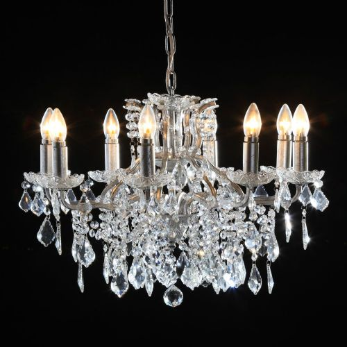 Antique French Cut Glass Silver Chandelier 8 arms